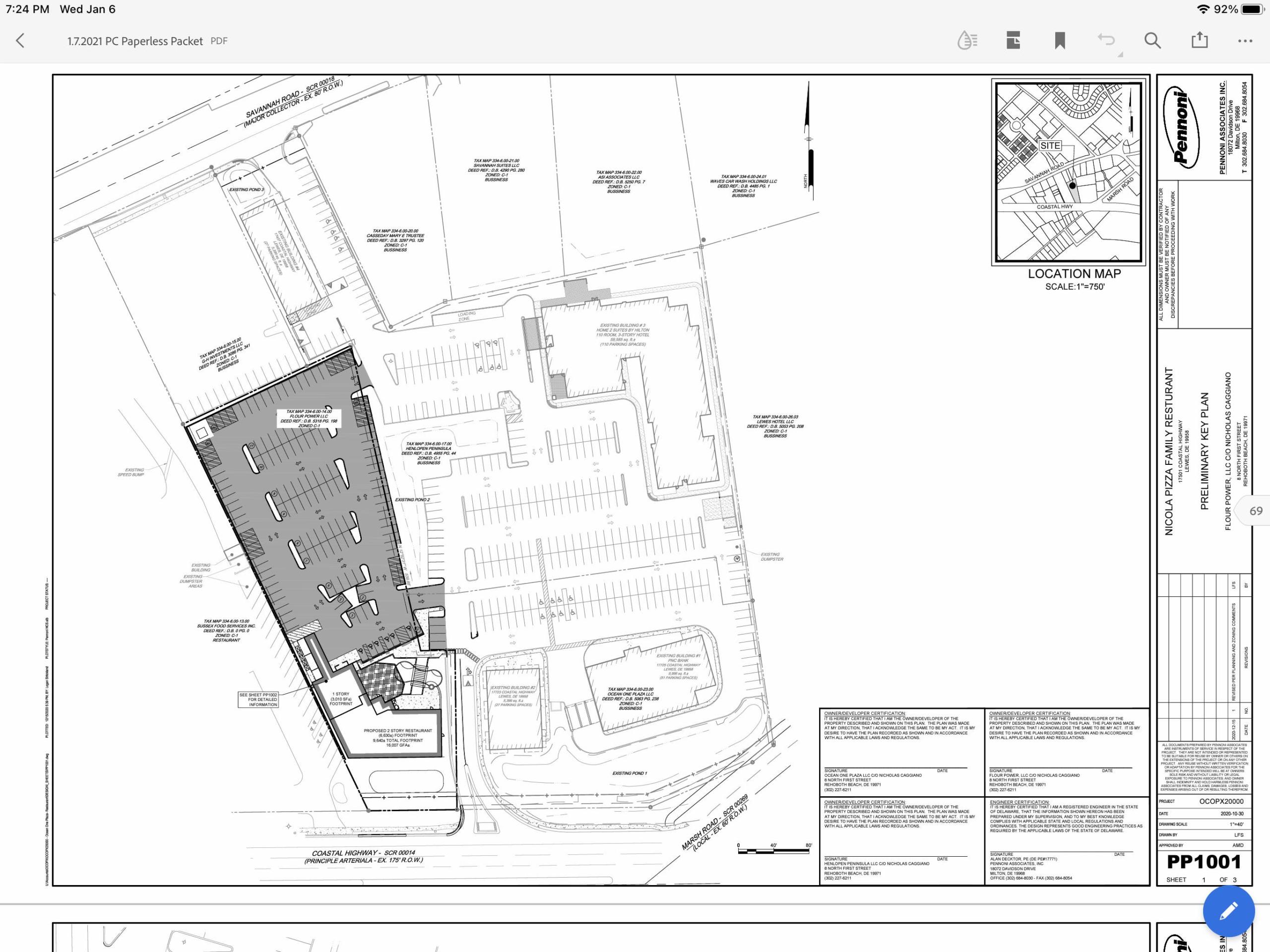 Nicola Pizza preliminary site plan in Lewes