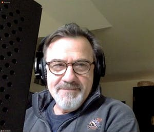 """Lee E. Ernst recording """"The Cornish Mystery"""" from home. (UD REP photo)"""