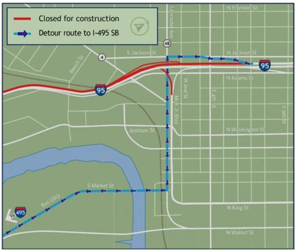 The first stage affects I-95 southbound between Martin Luther King Boulevard and I-495. (DelDOT)