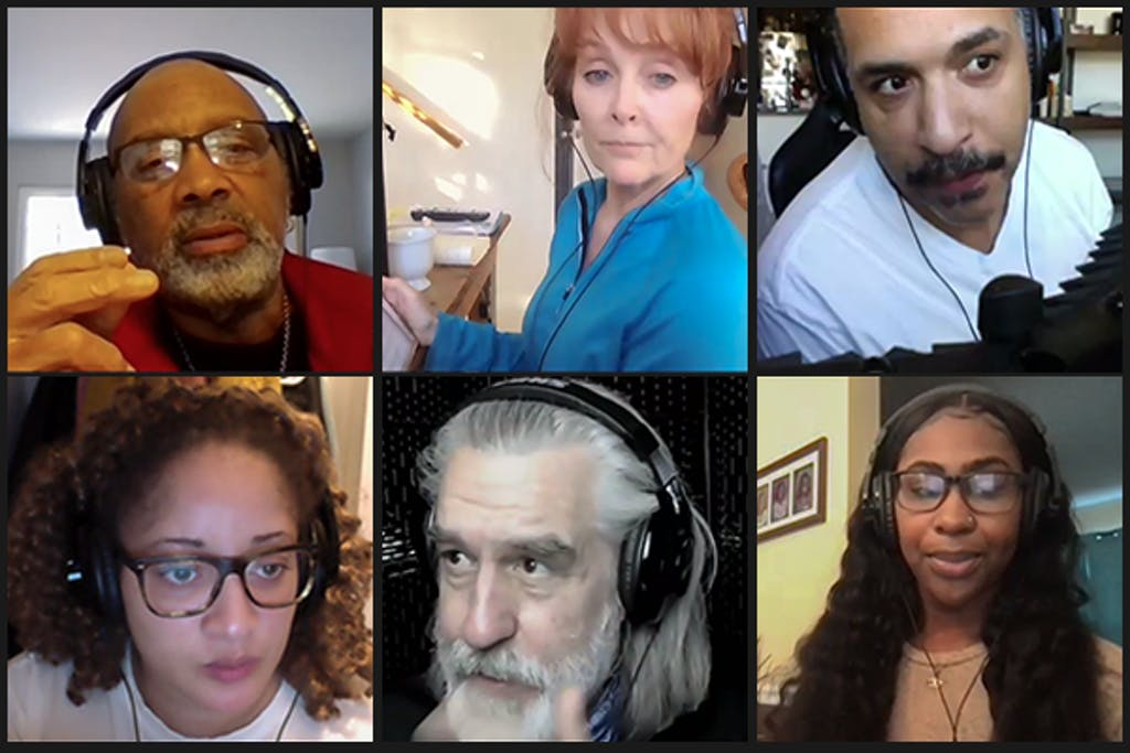 Hassan El-Amin talks to the cast of 'Talk About Race' in between takes: Top row, left to right: El-Amin, Elizabeth Heflin, Rene Thornton Jr. ; bottom row, left to right, Toni Martin, , Stephen Pelinski and Briana Henry.