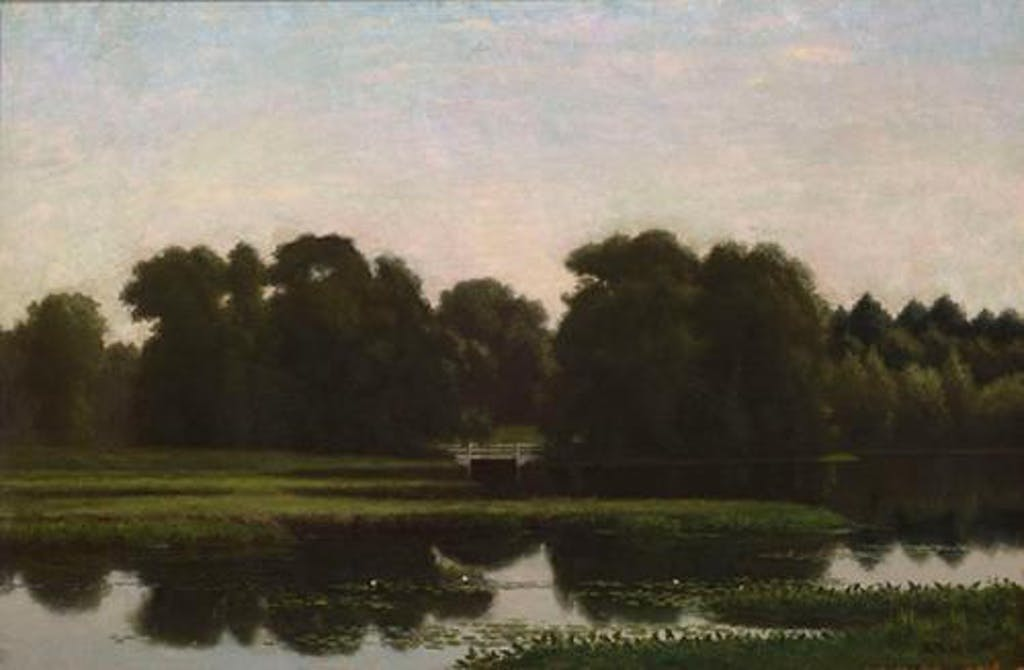 """""""Morning on the River, Providence, R.I."""" by Edward Mitchell Bannister. (Delaware Art Museum)"""