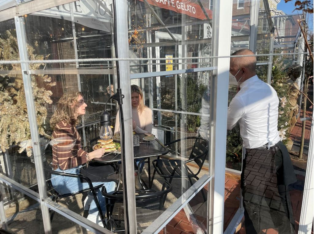 Caffe Gelato's greenhouse dining rooms have proven to be popular.