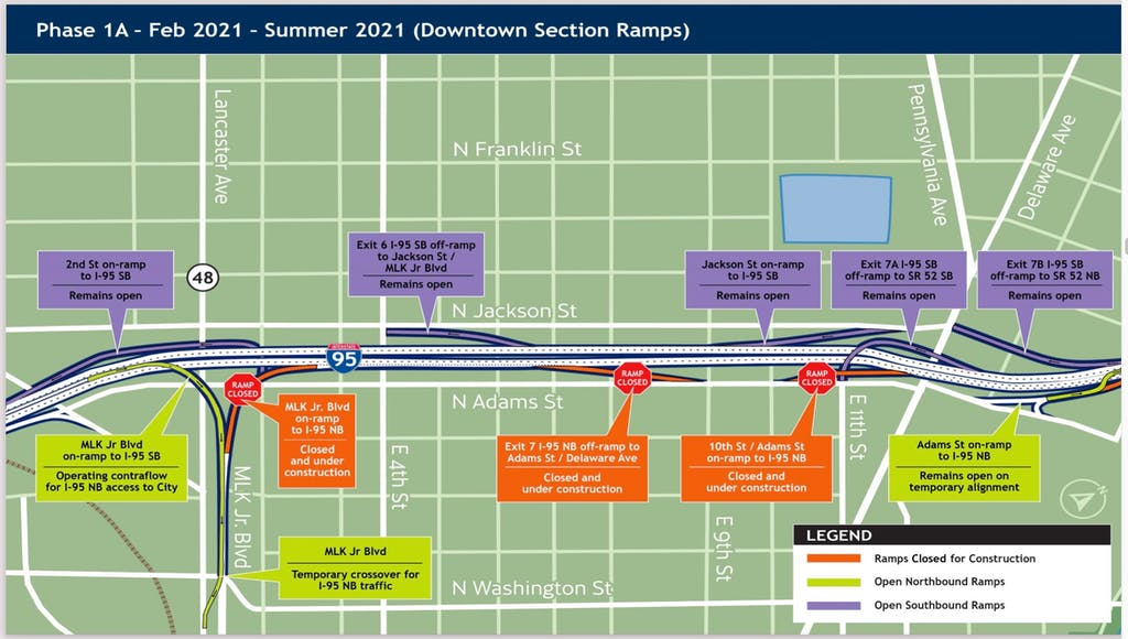 This map shows how traffic will be reversed on a ramp between I-95 and Martin Luther King Boulevard.
