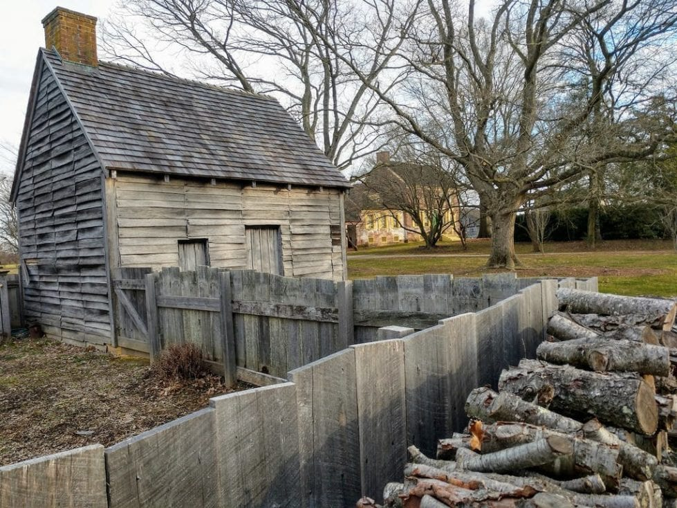 This log'd building is a reconstruction of the type of housing inhabited by the John Dickinson Plantation's enslaved people, tenants and indentured servants. (Delaware Division of Historical and Cultural Affairs)