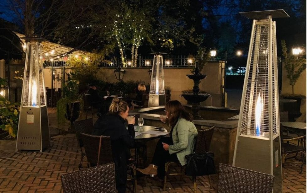 Diners take advantage of patio at Harry's Savoy Grill before winter arrived.