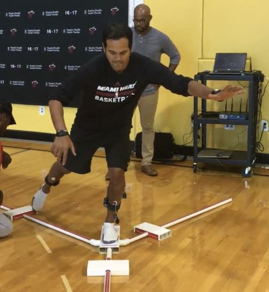 Homer was helping the Miami Heat test the efficacy of player shoes and to help develop the team's load management program when Coach Erik Spoelstra jumped in.