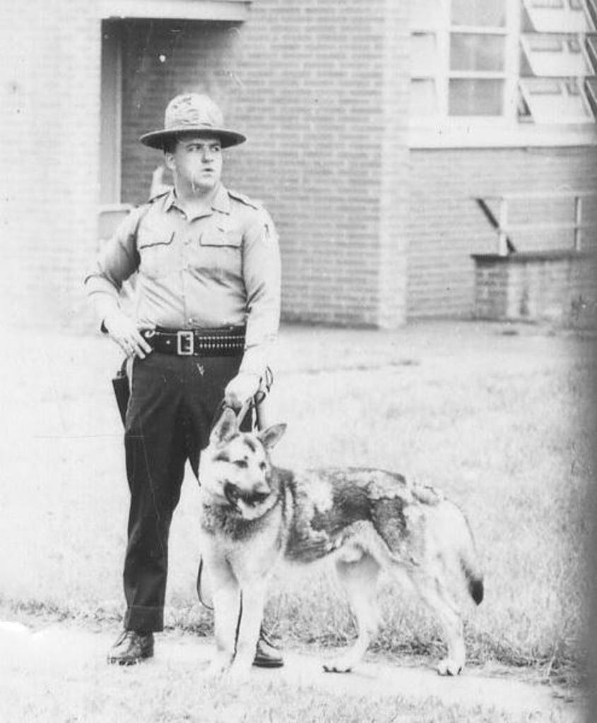 State Police, National Guardsmen and police dogs were ordered to Delaware State College in 1968. Photo courtesy of Delaware State Archives.