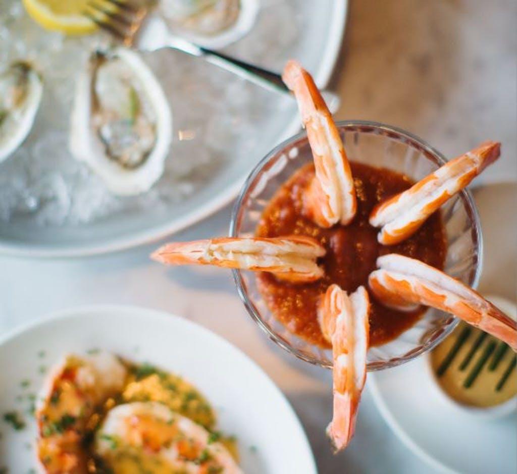 Le Cavalier's Valentine menu includes shrimp cocktail with harissa sauce. Photo by
