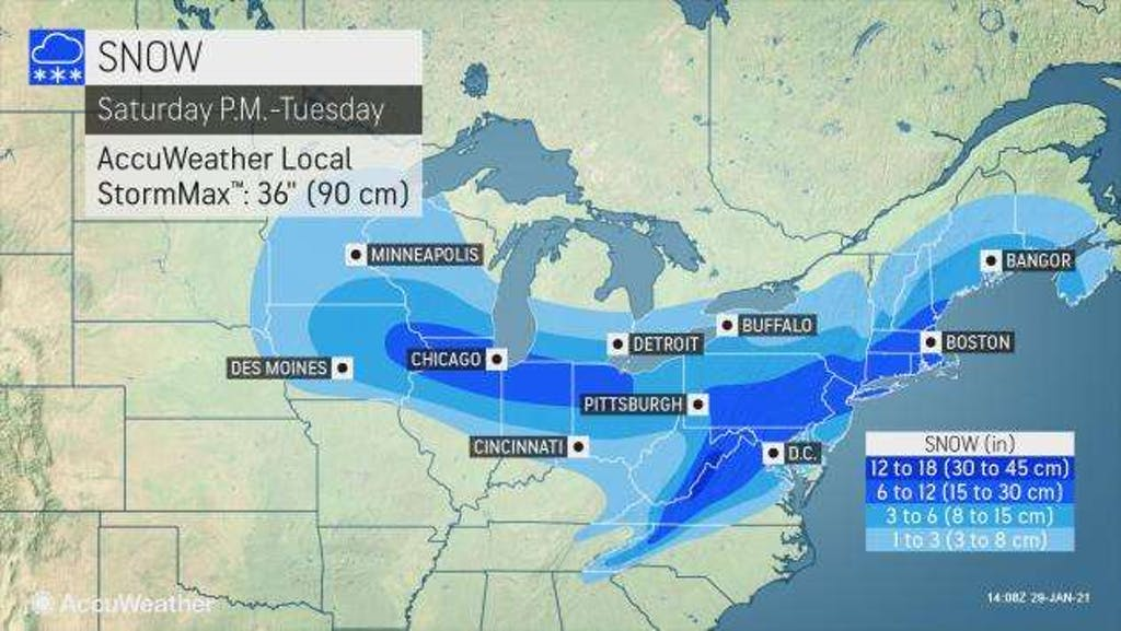 AccuWeather's forecast for snow accumulation