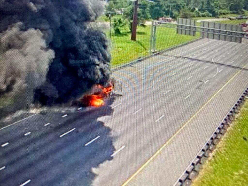 """Featured image for """"Burning off peroxide after I-95 accident triggers stay at home warning"""""""