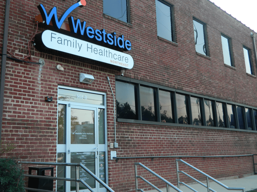a store in a brick building
